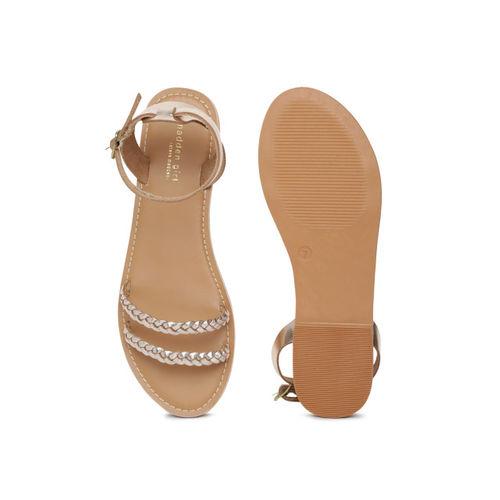 Steve Madden Women Gold-Toned Open Toe Flats