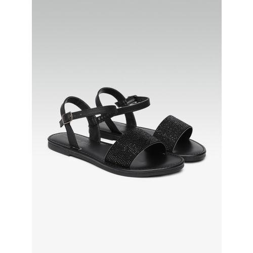 Steve Madden Women Black Solid Open Toe Flats