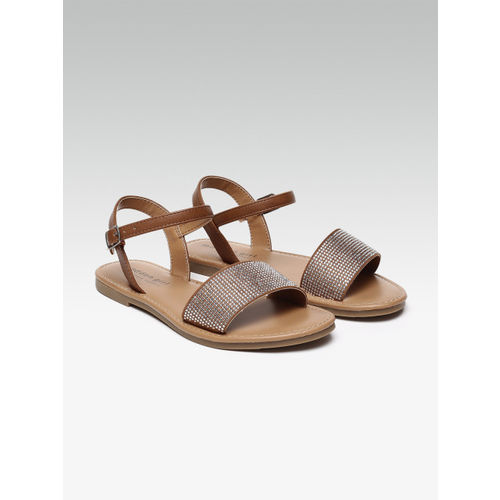 Steve Madden Women Brown Solid Synthetic Open Toe Flats
