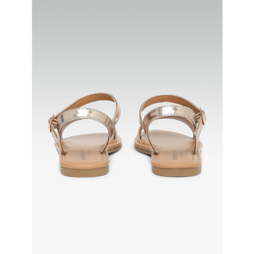 Steve Madden Women Gold-Toned Solid Synthetic Open Toe Flats