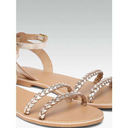 Steve Madden Women Gold-Toned Solid Open Toe Flats