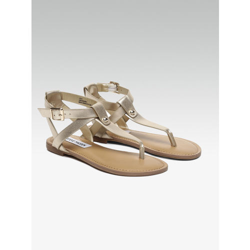 Steve Madden Women Gold-Toned Solid Leather T-Strap Flats