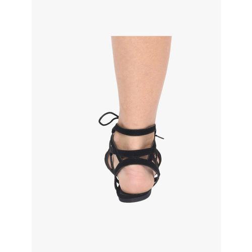Steve Madden Black Solid Open Toe Flats