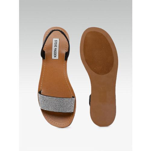Steve Madden Women Silver-Toned Open Toe Flats