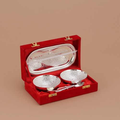 Indecrafts Silver plated Brass Floral Pack of 5 Dinner Set