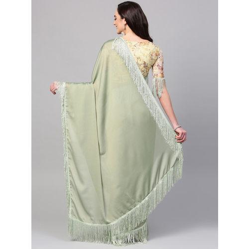 Inddus Green Georgette Solid Saree