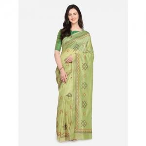 Kvsfab Green Cotton Embroidered Saree