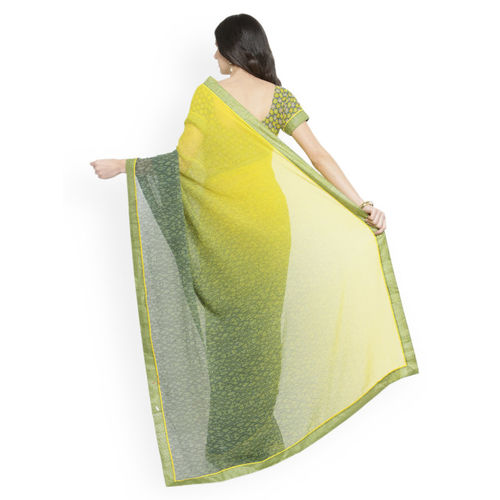 Shaily Green & Yellow Pure Georgette Printed Saree