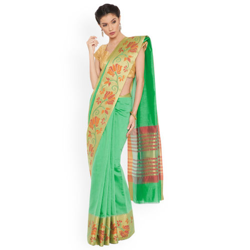 Triveni Green Solid Art Silk Saree