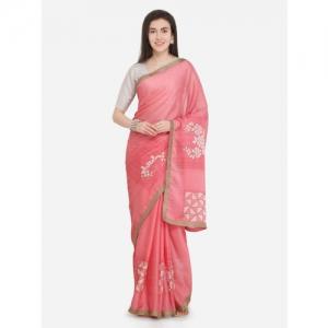 Triveni Pink Printed Pure Chiffon Saree