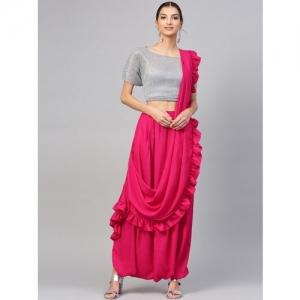 Inddus Pink Solid Viscose Rayon Dhoti Saree