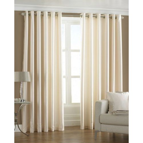Exporthub Plain 4 Piece Eyelet Polyester Long Door Curtain Set - 8ft, Cream