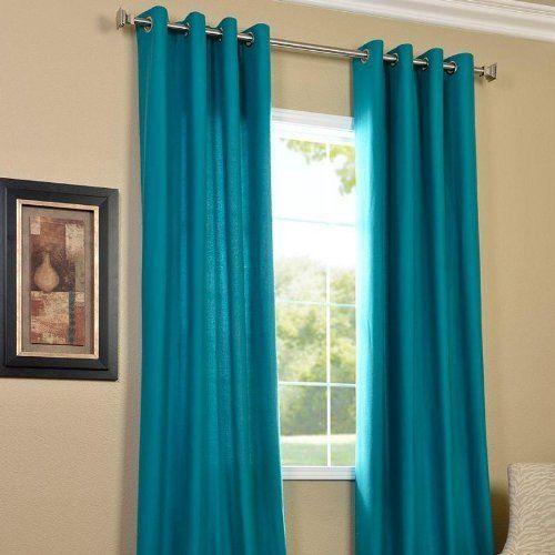 Exporthub Plain 4 Piece Eyelet Polyester Long Door Curtain Set - 8ft, Aqua Blue