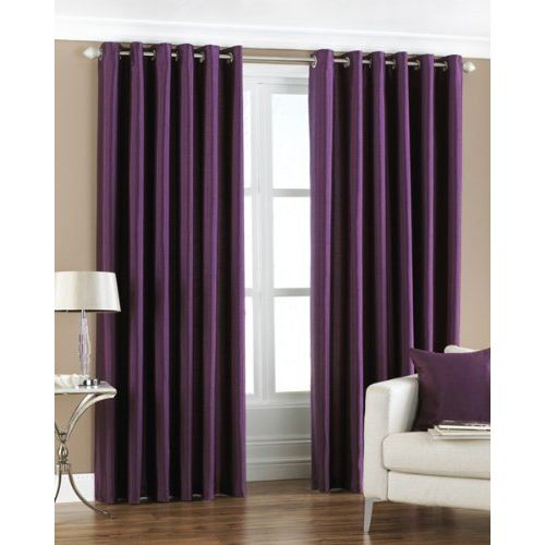 Exporthub Plain 4 Piece Eyelet Polyester Long Door Curtain Set - 8ft, Purple