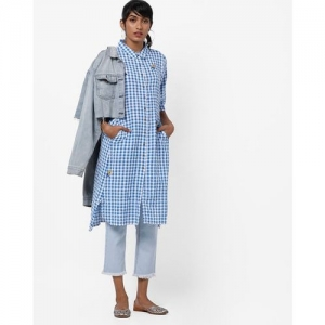 733944806a Project Eve IW Casual Checked High-Low A-line Kurta with Insert Pockets