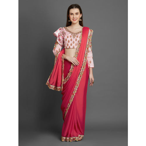 4b6a7eae27d6b5 Buy Mitera Pink Embroidered Poly Georgette Saree online   Looksgud.in