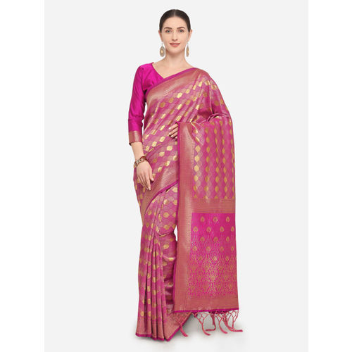 9c95abfe68 ... Saree Swarg Pink Silk Blend Woven Design Banarasi Saree ...