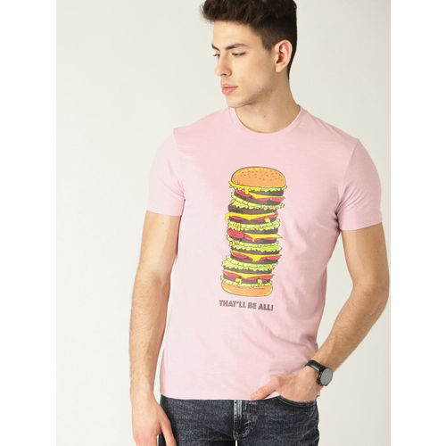 United Colors of Benetton Men Pink Printed Round Neck T-shirt
