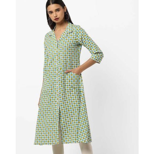 Project Eve IW Casual Printed A-line Kurta with Lapel Collar