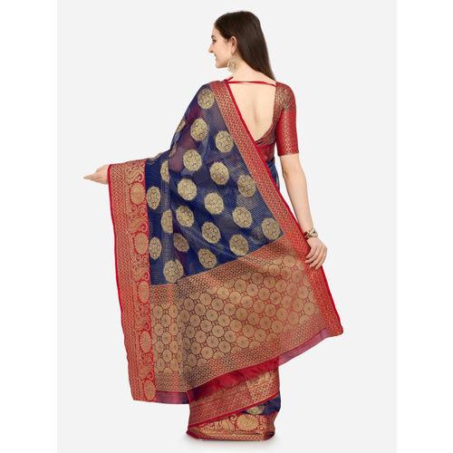 Saree Swarg Blue Organza Woven Design Banarasi Saree