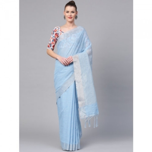Saree mall Blue & Silver Striped Saree