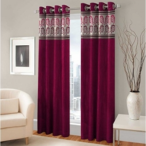 Exporthub Solid Fabric Fancy Designer Wine Color Eyelet Door Curtains (2 Piece) - 4 x 7 Feet, EHSPR531_74