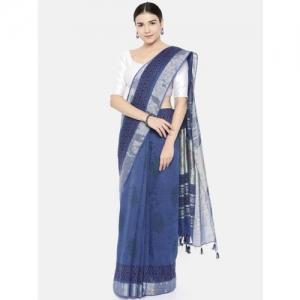 gocoop Blue Jute Cotton Printed Bhagalpuri Saree