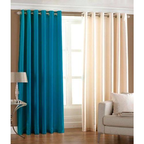 Exporthub Aqua Blue & Cream Plain Eyelet Long Door Curtains Set Of 2 Pc 9x4 Feet, (EHSPR250_94)