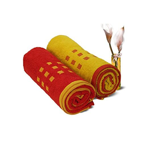 Spaces Atrium 2 Piece 450 GSM Cotton Bath Towel Set - Red and Gold