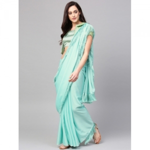 Inddus Sea Green Georgette Solid Saree
