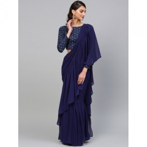 Inddus Navy Blue Georgette Layered Solid Saree