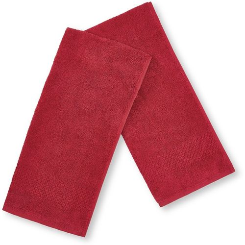 SPACES Cotton 450 GSM Hand Towel Set(Pack of 2, Red)