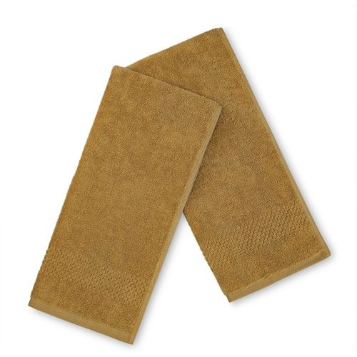 SPACES Cotton 450 GSM Hand Towel Set(Pack of 2, Gold)