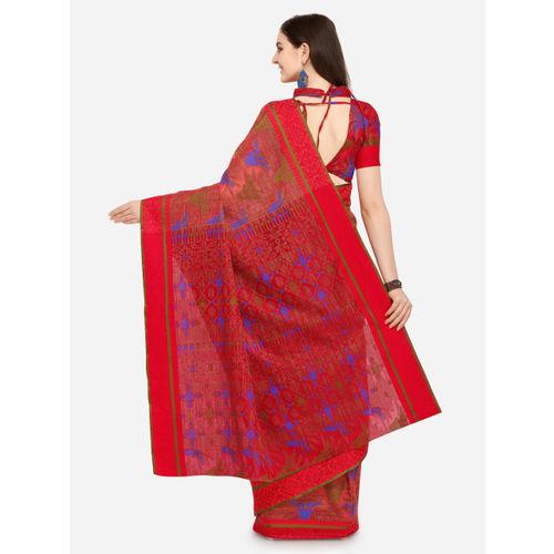 Saree Swarg Red Cotton Blend Woven Design Banarasi Saree
