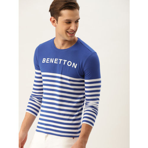 United Colors of Benetton Men Blue Striped Round Neck T-shirt
