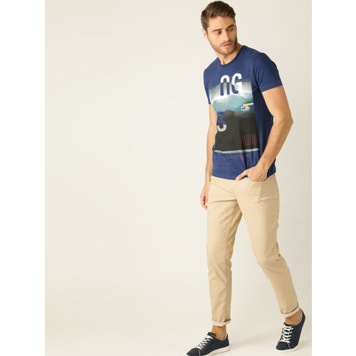 United Colors of Benetton Men Navy Blue & Black Printed Round Neck T-shirt