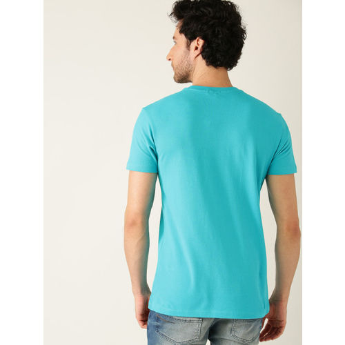 United Colors of Benetton Men Turquoise Blue & Charcoal Grey Striped Round Neck T-shirt