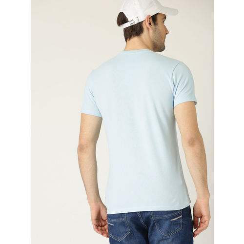 United Colors of Benetton Men Blue Printed Round Neck T-shirt