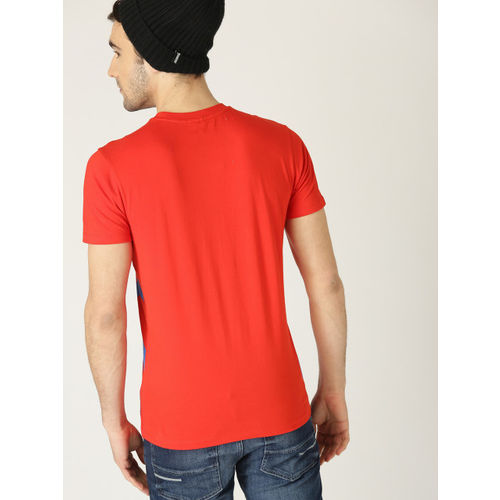 United Colors of Benetton Men Red Printed Round Neck T-shirt