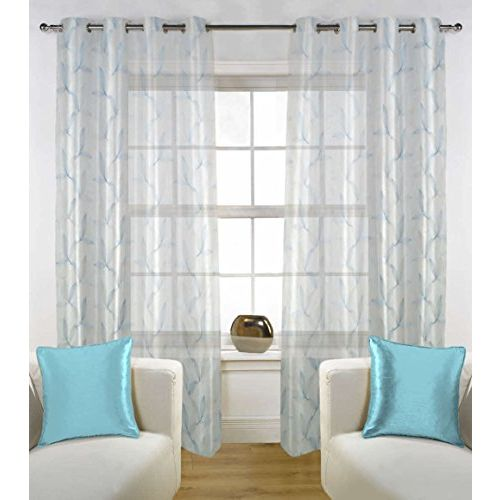 FABUTEX Polyester 7 ft Sheer Floral Embroidery Curtains for Doors (White with Blue) - Set of 2