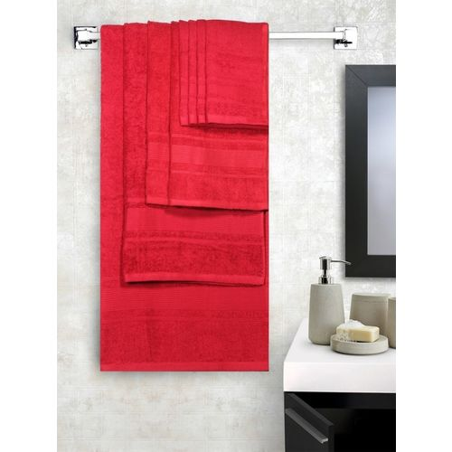 Lushomes Cotton 450 GSM Bath, Hand, Face Towel Set(Pack of 8, Red)