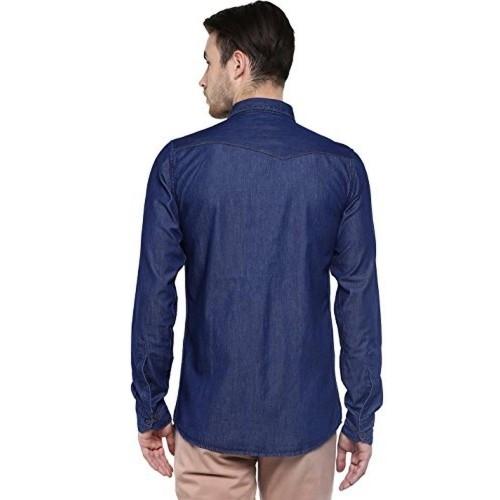 4286505b77f Buy Speak Men s Plain Slim Fit Denim Shirt online