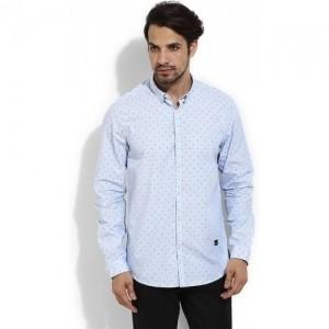 Blackberrys Sky Blue Men's Printed Casual Shirt