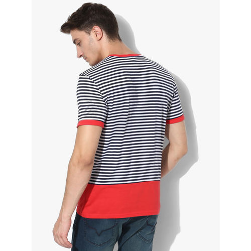 United Colors of Benetton Navy Blue Striped Regular Fit Round Neck T-Shirt