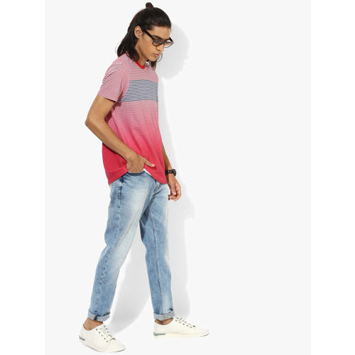 United Colors of Benetton Red Striped Regular Fit Round Neck T-Shirt