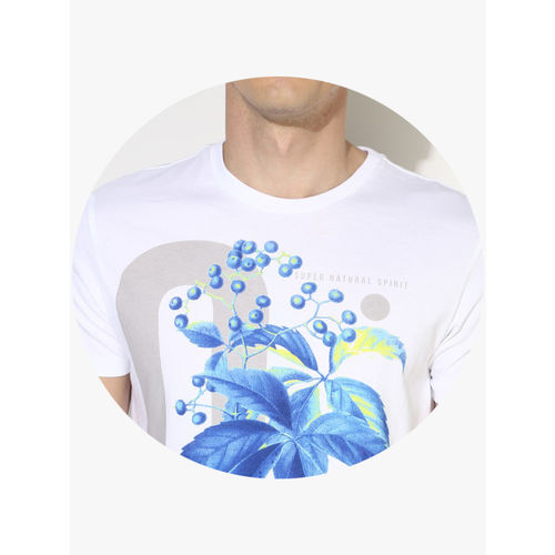 United Colors of Benetton White Cotton Floral Regular Fit Round Neck T-Shirt