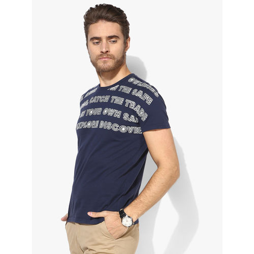 United Colors of Benetton Navy Blue Printed Regular Fit Round Neck T-Shirt