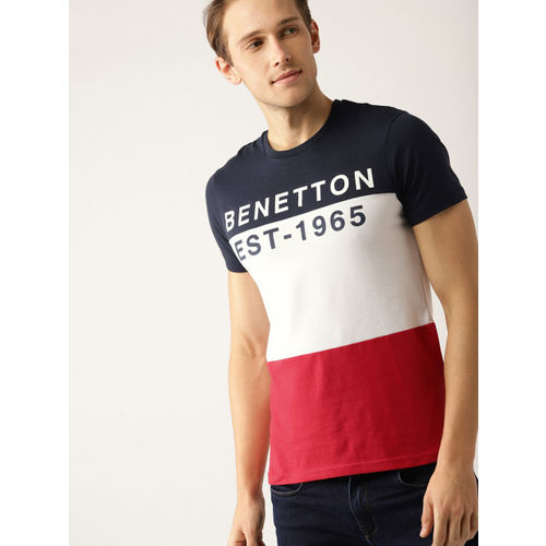 United Colors of Benetton Men Navy Blue & Red Colourblocked Round Neck T-shirt