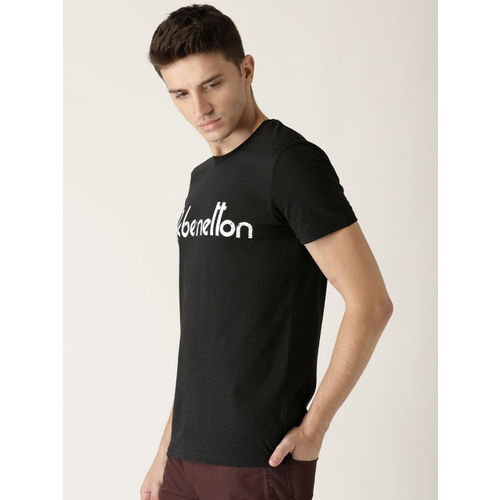 United Colors of Benetton Men Black Solid Round Neck T-shirt