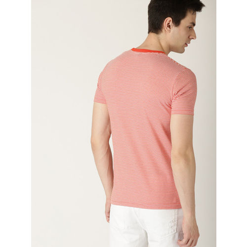 United Colors of Benetton Men White & Orange Striped Round Neck T-shirt